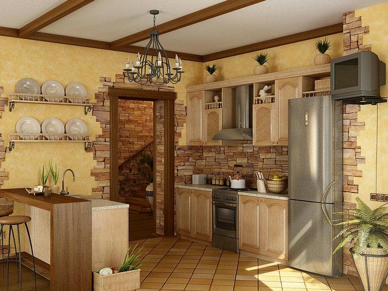 Отделка стен кухни камнем фото