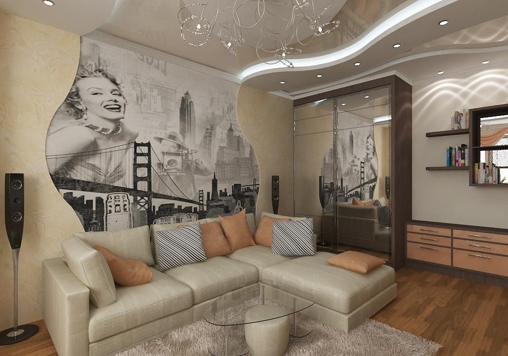 отделка стен в гостиной фото
